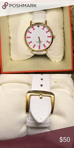 Kate Spade Watch White with Pink Bows I wore this watch for a semester before getting a Fitbit which is now my watch. So there is nothing wrong with it. It will need a new battery. Mint condition (comes in original box) and no damage except a small dot on the tip (see photo). kate spade Accessories Watches