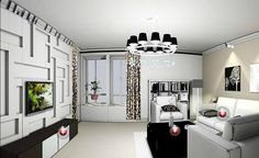 Light gray living room creative TV wall