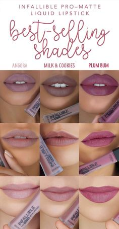 The three best-selling shades of new L'Oreal Infallible Pro-Matte Liquid Lipstick: 360 Angora, 364 Milk & Cookies, and 362 Plum Bum. 3 nude matte liquids that last all day.