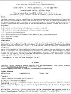 """Ancona, 16 novembre 2013:  Evento formativo  """"Winespeak - Il linguaggio della vigna e del vino""""."""