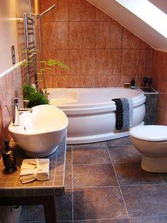 eclectic-bathroom under stair
