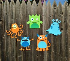 MADE TO ORDER Set of 5 Monster Party Large Cutouts Wall Decoration - Customize Your Way
