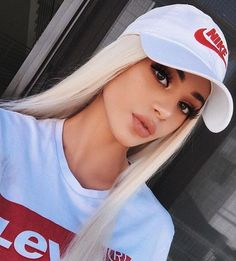This is a Lace Frontal Wig Silky Straight Costum Human Hair Platinum Blonde wig For woman Wig Styling, Costume Wigs, Blonde Wig, Platinum Blonde, Aesthetic Girl, Synthetic Wigs, Lace Front Wigs, Pretty Hairstyles, Girl Photos