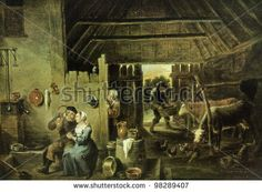 "USSR - CIRCA 1988: Postcard printed in the USSR shows draw by David Teniers the Younger ""Interior of Peasant House"", circa 1988"