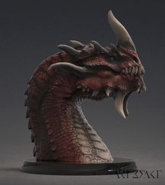 Hey, everyone, I'm really happy to share the updated Kharzuul the Ravager bust. Polypainted and rendered in Keyshot, this is the first of my busts where I am showing not only the sculpt but more of the character of the dragon and how I envision them. Dragon Face, Fire Dragon, Creature Concept Art, Creature Design, Cool Dragons, Modelos 3d, Mythical Creatures Art, Monster Design, Greek Gods