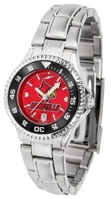 Louisville Cardinals Competitor AnoChrome Ladies Watch with Steel Band and Colored Bezel by SunTime. $88.95. Links Make Watch Adjustable. Women. Stainless Steel. Water Resistan. Officially Licensed Louisville Cardinals Women's Stainless Steel Dress Watch. Showcase the hottest design in watches today! The functional rotating bezel is color-coordinated to compliment the Louisville Cardinals logo. The Competitor Steel utilizes an attractive and secure stainless steel band.The An...