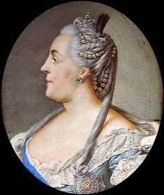 Catherine the Great (who became Tsar of Russia after her husband, Peter I, was overthrown). Love the colors and the adornments in the hair.