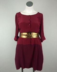 Eileen Fisher Oversized L Burgundy Purple Silk Shirt Dress Large Plus Size Cuffs #EileenFisher #ShirtDress
