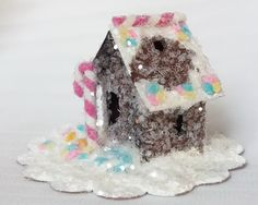 As Seen in Country Woman Magazine Vintage Putz Style Tiny Miniature Gingerbread Glitter Sugar House Pink Candy Cane Christmas Tree Ornament by TheUglyDuckling1962 on Etsy
