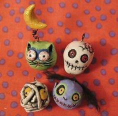 make halloween zombie ornaments from clay or make earrings!