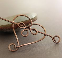 Celtic heart shawl pin or scarf pin in solid copper with pin stick