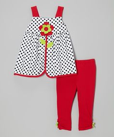 Another great find on #zulily! White Polka Dot Top & Red Leggings - Toddler by Kids Headquarters #zulilyfinds