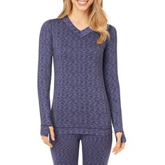 Cuddl Duds Blue Novel Flexfit174 Long Sleeve V-Neck Top - Cd8518850 -... ($18) ❤ liked on Polyvore featuring tops, blue novel and cuddl duds