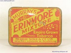 Old Tobacco Tin Murray's Erinmore Mixture Tobacco No Longer Available