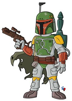 Boba Fett (from the original Star Wars trilogy) This one is pretty self explanatory, it's Boba Fett :) I had the orginal Kenner actio. Simpsons Drawings, Simpsons Art, Star Wars Fan Art, Star Trek, Boba Fett Comics, Star Wars Karikatur, Cute Deadpool, Los Simsons, Workout Exercises