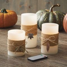 Better Homes and Gardens LED Candle Harvest Burlap, Beige Rose Gold Christmas Decorations, Christmas Candles, Xmas Decorations, Christmas Crafts, Burlap Candles, Led Candles, Candle Jars, Creation Bougie, Bougie Led