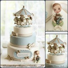 Battesimo Baby Boy Cakes, Cakes For Boys, Baby Shower Cakes, Baby Boy Shower, Carousel Cake, Carousel Party, Rocking Horse Cake, Cupcake Pictures, Cupcake Pics