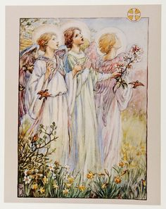 """11"""" x 14"""" Religious Art Print Picture by Cicely Mary Barker Three Angels   eBay"""