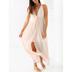 Wholesale Stylish Spaghetti Strap Light Pink Chiffon Women's Maxi Dress Only $14.83 Drop Shipping | TrendsGal.com