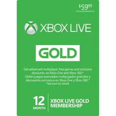Microsoft Xbox LIVE 12 Month Gold Membership for Xbox 360 / XBOX ONE http://23393.getgiftcards.org/