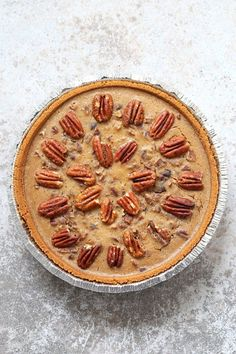 Vegan Chocolate Pecan Pie with Dates and Chai spice / makes 6 servings / 1 serving = 583 cal, 33g F, 67g C, 6g P / pie crust, pecans, dates, non-dairy milk, vegan chocolate chips