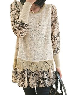 Charming O-Neck Full Sleeve Paillette Printing Patchwork Plus Size Multilayer Women Leisure Pullover Sweater on buytrends.com