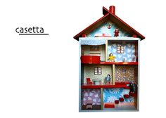 Casetta delle bambole artigianale // #Handmade dollhouse by miCreo via it.dawanda.com Doll House Play, Play Houses, Dolls, Holiday Decor, Etsy, Home Decor, Baby Dolls, Decoration Home, Room Decor