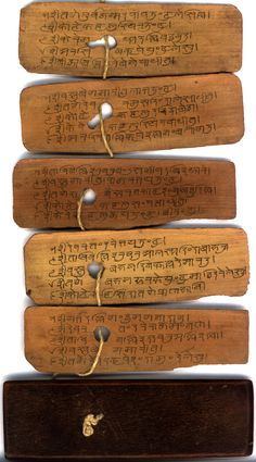 """""""Palm leaf manuscripts (Tamil: ஓலைச் சுவடி) are manuscripts made out of dried palm leaves. They served as the paper of the ancient world in parts of Asia as far back as the fifteenth century BCE.and possibly much earlier. Ancient Aliens, Ancient Artifacts, Ancient Book, Old Books, Antique Books, Handmade Books, Book Binding, Illuminated Manuscript, Altered Books"""