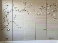 hand-painted silk wallpaper magnolia USD300 per panel | Etsy