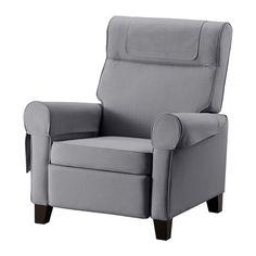 IKEA - MUREN, Lepotuoli + rahi, Nordvalla keskiharmaa, , Säädettävissä kolmeen eri asentoon aina pystyasennosta lepoasentoon.Sisäänrakennettu rahi, joka työntyy esiin taakse nojatessa.Korkea selkänoja tukee hyvin niskaa.
