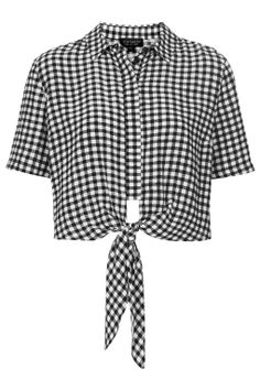 gingham tie front shirt.