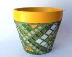 Glittering Mosaic Flower Pot Peridot, Handpainted Border in Bright Sunflower Yellow Mosaic Planters, Mosaic Flower Pots, Mosaic Garden, Tile Crafts, Mosaic Crafts, Mosaic Projects, Yellow Tile, Mosaic Stepping Stones, Mosaic Glass