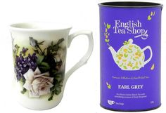 Bone China Roses Violets Tea Cup English Tea Earl Grey Gift Set