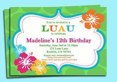 Luau Party Invitation Template Luxury Luau Invitation Printable Personalized for Your by Hawaiian Invitations, Luau Birthday Invitations, Birthday Invitation Templates, Invitation Cards, Birthday Cards, Invitation Wording, Invitation Ideas, Invites, Birthday Ideas