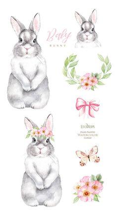 Watercolor Images, Watercolor Animals, Animal Nursery, Nursery Art, Hase Tattoos, Lapin Art, Rabbit Drawing, Bunny Tattoos, Bunny Painting