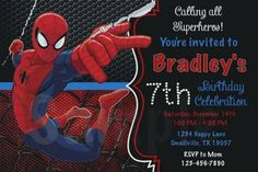 Free Editable Spiderman Birthday Invitations