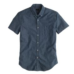 Secret Wash short-sleeve shirt in classic navy dot : Short Sleeve | J.Crew