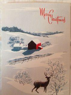 Vintage Christmas Greeting Card Mountain Country Farm Red Barn Big Buck Deer.