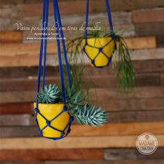 Como fazer vasos pendurados com tiras de malha - Passo a passo com fotos - How to make a support for vases using fabric strips - DIY tutori...