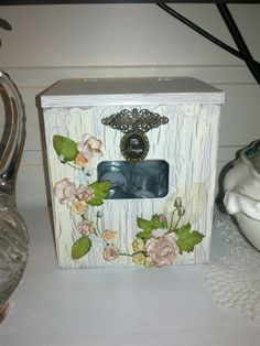 Tealightcandle box made with I Am Roses flowers and KinderstampO vintage letter charm =)