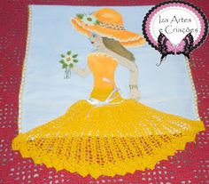 Iza Artes e Criações: Pano de Prato Pintado com Crochê