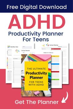 The Ultimate Productivity Planner For Teens With ADHD is the only planner you need to motivate your teen and keep them on track with their schoolwork! This goal setting planner will help! Simply Enter your email and get instant access to: ➡️Time Blocking Schedule. ➡️Assignment Tracker. ➡️Daily School Planner. ➡️Goal Setting Sheets. 👍🏼 DOWNLOAD IT NOW FOR FREE! ADHD TEENS I ADHD PLANNER I ADHD PRINTABLE I TEENS WITH ADHD School Planner, Student Planner, Time Management Tools, Adhd Brain, Adhd Strategies, Positive Parenting Solutions, Journal Writing Prompts, Badass Quotes, Special Education