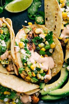Mexican Street Corn Chicken Tacos by Chelsea's Messy Apron Mexican Street Corn Chicken Tacos Mexican Street Corn Chicken Tacos by Chelsea's Messy Apron Mexican Street Corn Chicken Tacos Gourmet Sandwiches, Gourmet Burger, Gourmet Tacos, Gourmet Recipes, Mexican Food Recipes, Dinner Recipes, Cooking Recipes, Healthy Recipes, Dessert Recipes