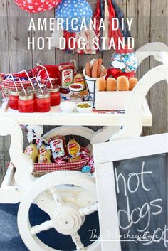 Get creative for your 4th of July party by adding an Americana Hot Dog Stand. This hot dog cart idea can easily be used for birthday parties, weddings, or fun summer parties! Get the details on the blog on how to create your own DIY Hot Dog Stand. (ad) #FrenchsCrowd #FrenchsMustard @frenchsfood