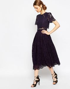Image 4 ofASOS Lace Crop Top Midi Prom Dress