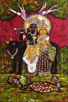Radha Krishna - The Divine Lovers (Batik Painting on Cotton Cloth - Unframed)