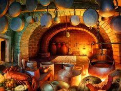 View an image titled 'Pooka Kitchen Art' in our Odin Sphere art gallery featuring official character designs, concept art, and promo pictures. Environment Concept Art, Environment Design, 2d Game Background, Odin Sphere, Dragons Crown, Fantasy Concept Art, Fantasy House, Cooking Videos, Environmental Art