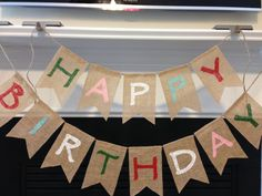 Set Of 2 Happy Birthday Burlap Banners
