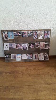 Stijgerhout fotobord / fotolijst. Staaldraad en fotos bevestigen met clipje et voila!