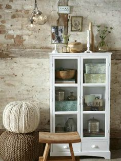 Glass cabinet knitted stools and wooden stool Decor, Furniture, Interior, House Styles, Home Decor, Home Deco, Inside Decor, Interior Design, Home And Living